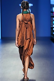 Brown Cowl Dress With Inner by Vaishali S
