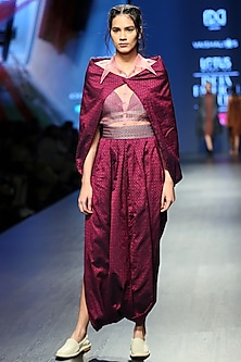 Magenta Cape Style Dress With Light Pink Sheer Shirt & Inner by Vaishali S