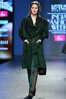 Dark Green Cami Top With Striped Pants & Overcoat by Vaishali S