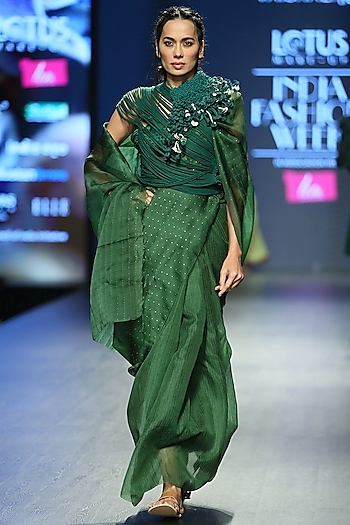 Green Handcrafted Embroidered Saree Set by Vaishali S