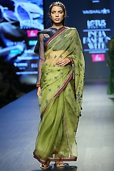 Light Green Silk Saree Set by Vaishali S