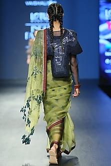 Light Green Silk Saree Set by Vaishali S