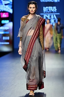Grey & Gold Handwoven Saree Set by Vaishali S