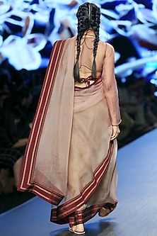 Golden Khun Asymmetric Sleeves Coat by Vaishali S