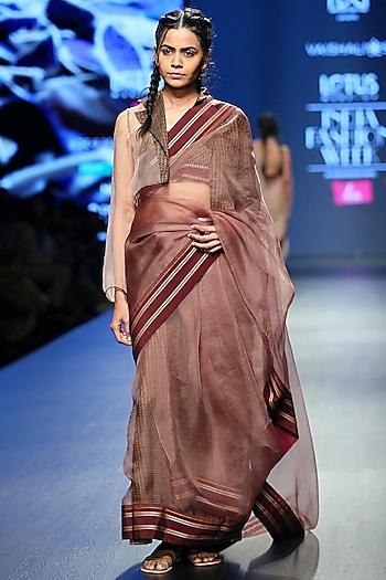 Brown & Golden Brown Handwoven Saree Set by Vaishali S