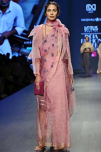 Baby Pink & Pink Handwoven Saree Set by Vaishali S