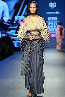 Grey & Gold Handwoven Saree Set by Vaishali S