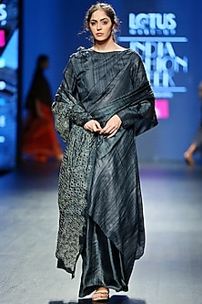 Grey Embroidered Saree With Dress & Jacket by Vaishali S