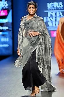 White & Black Embroidered Saree Set by Vaishali S