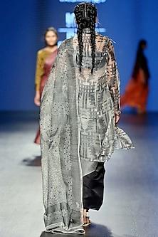 White & Black Sheer Silk Jacket by Vaishali S