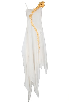 White Asymmetrical Maxi Dress by Vaishali S