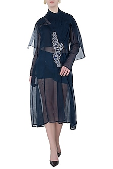 Blue Cape Midi Dress by Vaishali S