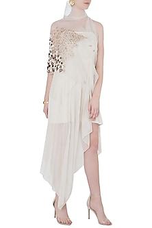 White Dress with Asymmetrical Cape Jacket by Vaishali S
