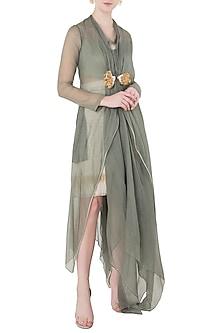 Green Asymmetrical Cape Dress by Vaishali S
