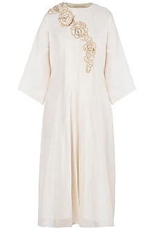 White Texture Knee Length Dress by Vaishali S