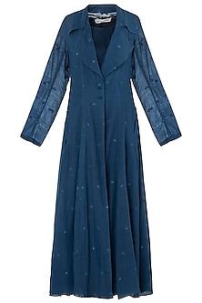 Blue Texture Midi Dress with Jacket by Vaishali S