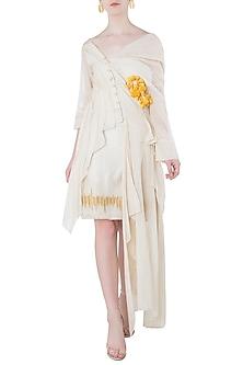 White Asymmetrical Texture Shirt Dress by Vaishali S