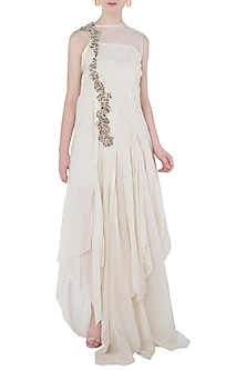 Off White Asymmetrical Frill Maxi Dress by Vaishali S