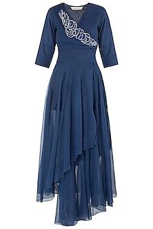 Blue Asymmetrical Texture Maxi Dress by Vaishali S