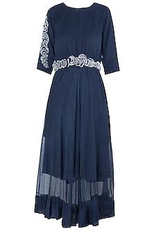 Blue Texture Midi Dress by Vaishali S