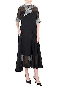 Black Texture Midi Dress by Vaishali S