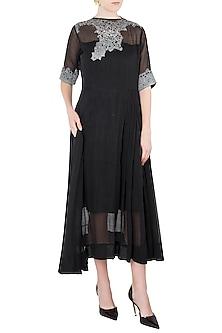 Black Texture Midi Dress by Vaishali S