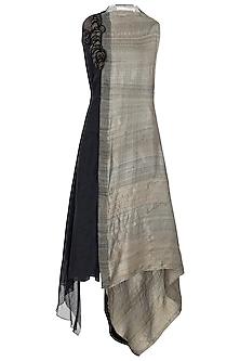 Black and Brown Asymmetrical Midi Dress by Vaishali S