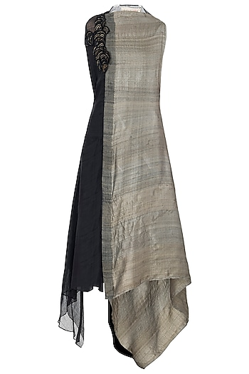 Black and Brown Asymmetrical Midi Dress by Vaishali S