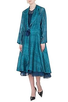 Blue Texture Midi Jacket with Dress by Vaishali S