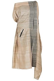 Beige Asymmetrical Side Lining Dress by Vaishali S