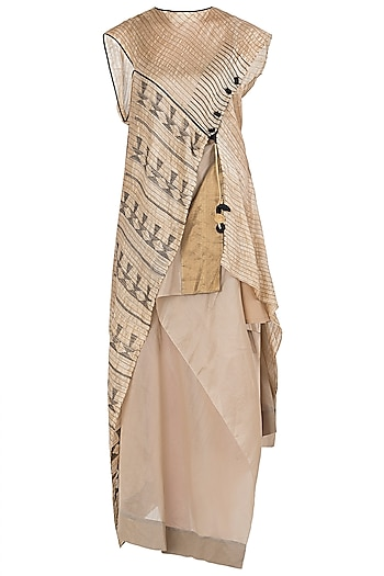 Beige Asymmetrical Maxi Dress by Vaishali S