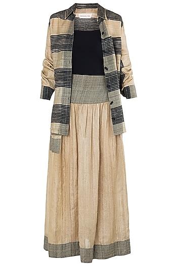 Beige Texture Midi Skirt with Jacket by Vaishali S