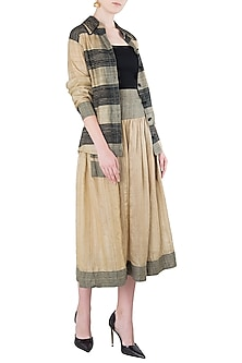 Beige Texture Midi Skirt with Jacket by Vaishali S