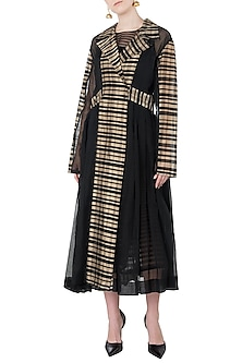 Black and Beige Texture Jacket by Vaishali S