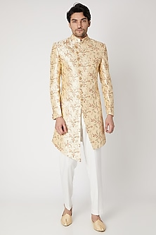 Off White Embroidered Sherwani Set by Vavci