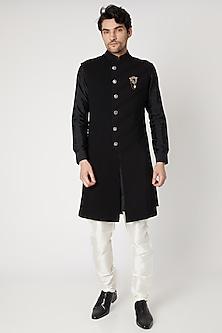 Black Printed Indo Western Sherwani Set by Vavci