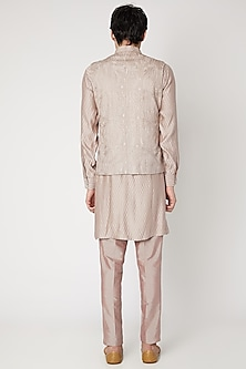 Beige Embroidered Jacket Kurta Set by Vavci
