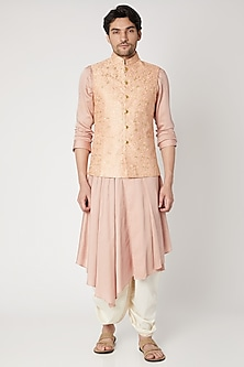 Peach Floral Embroidered Nehru Jacket by Vavci