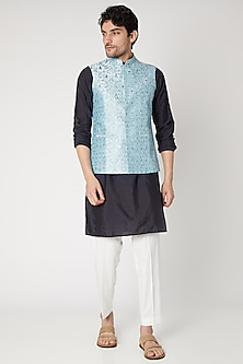 Sky Blue Floral Embroidered Nehru Jacket by Vavci