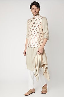 Off White Embroidered Nehru Jacket by Vavci