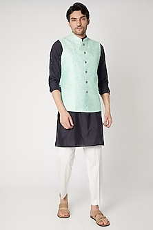 Sky Blue Embroidered Nehru Jacket by Vavci