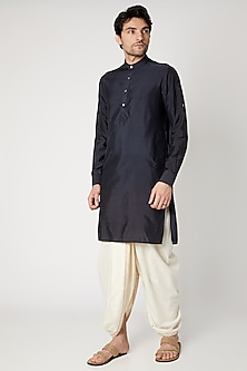 Navy Blue Cotton Silk Kurta by Vavci