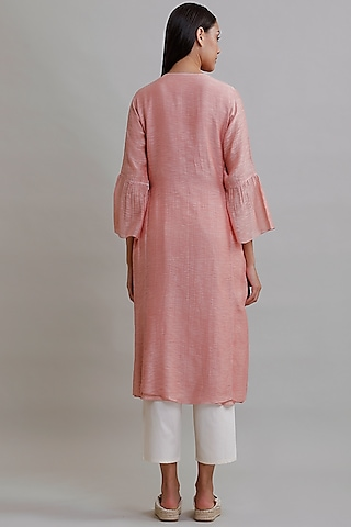 Blush Pink Embroidered Tunic by Varq By Varun Nidhika