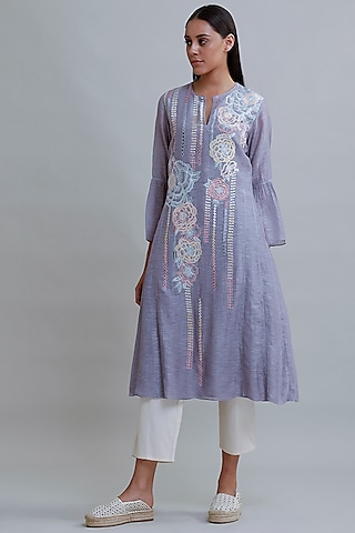 Pastel Blue Embroidered Tunic by Varq By Varun Nidhika