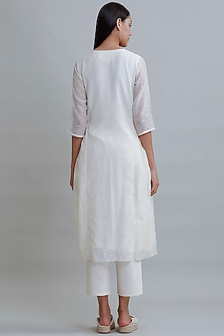 Ivory Embroidered Tunic by Varq By Varun Nidhika