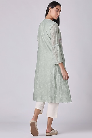 Jade Green Embroidered Tunic by Varq By Varun Nidhika