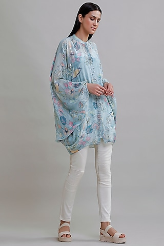 Powder Blue Printed Top by Varq By Varun Nidhika