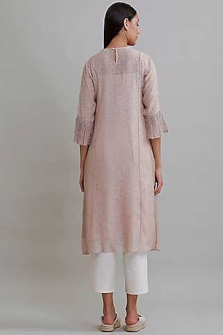 Peach Embroidered Tunic by Varq By Varun Nidhika