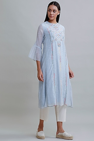 Powder Blue Embroidered Tunic by Varq By Varun Nidhika