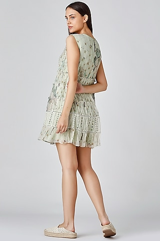 Mint Green Embroidered Dress by Varq By Varun Nidhika